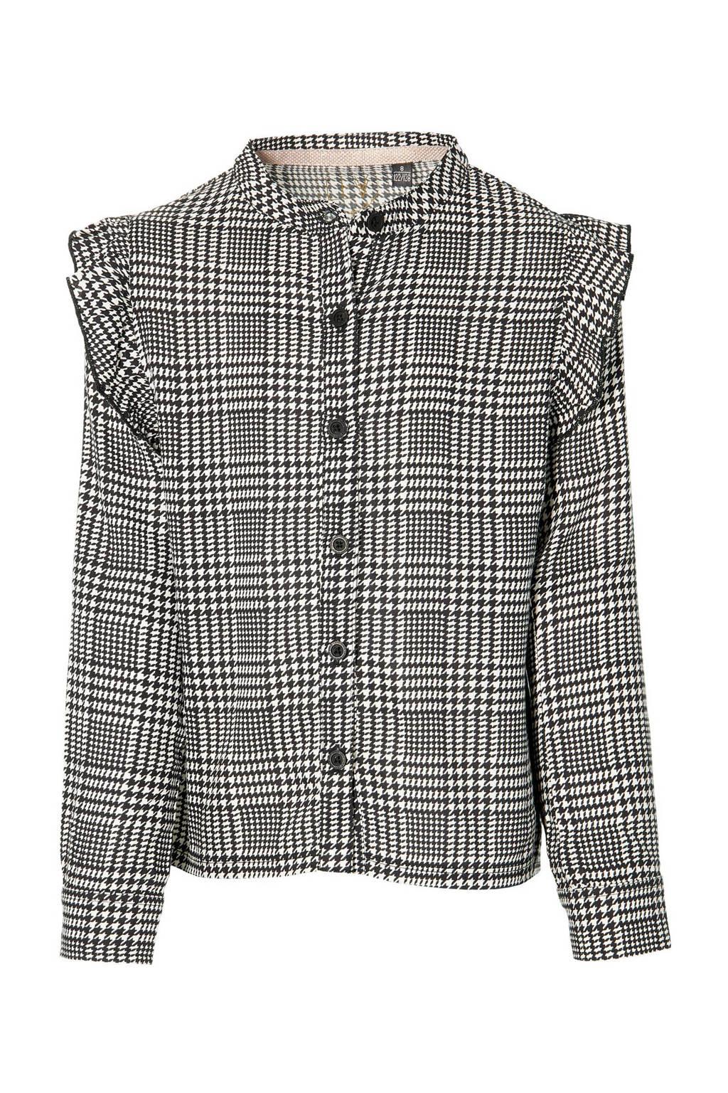 LEVV Girls geruite blouse Katrin zwart/wit, Zwart/wit