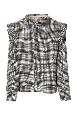 geruite blouse Katrin zwart/wit