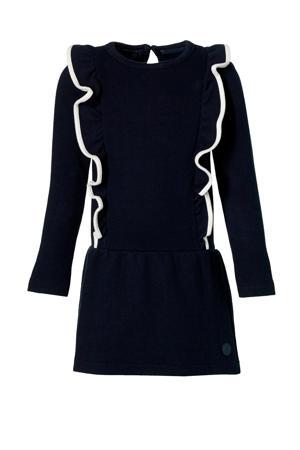 jurk Laura met ruches donkerblauw