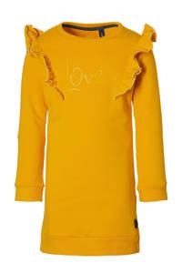 LEVV Little sweatjurk Lacey met tekst en ruches goudgeel, Goudgeel