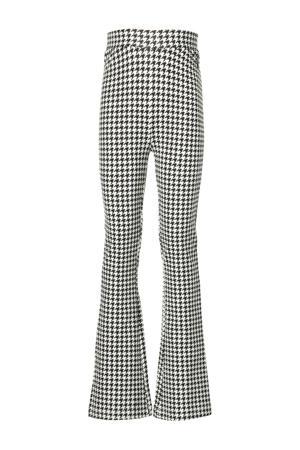 flared broek Keona met pied-de-poule zwart/wit