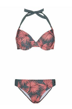 beugel bikini Gracia met all over print grijs/roze