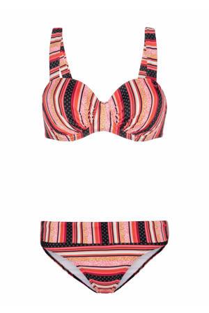 gestreepte beugel bikini Bastile roze/oranje/geel