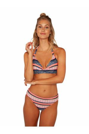 push-up halter bikini Eleonore roze/blauw