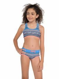 Protest crop bikini Zenja met all over print blauw/roze, Ground Blue