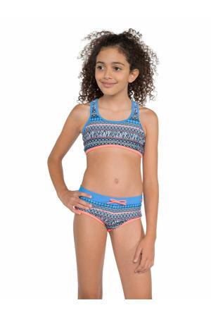 crop bikini Zenja met all over print blauw/roze