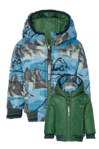 Quapi Mini reversible gewatteerde winterjas Ejaz met all over print blauw/groen, Blauw/groen