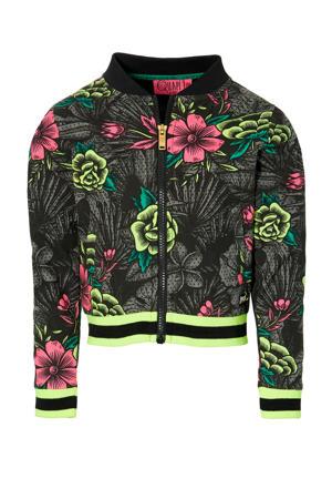 gebloemd jasje Deb zwart/geel/roze
