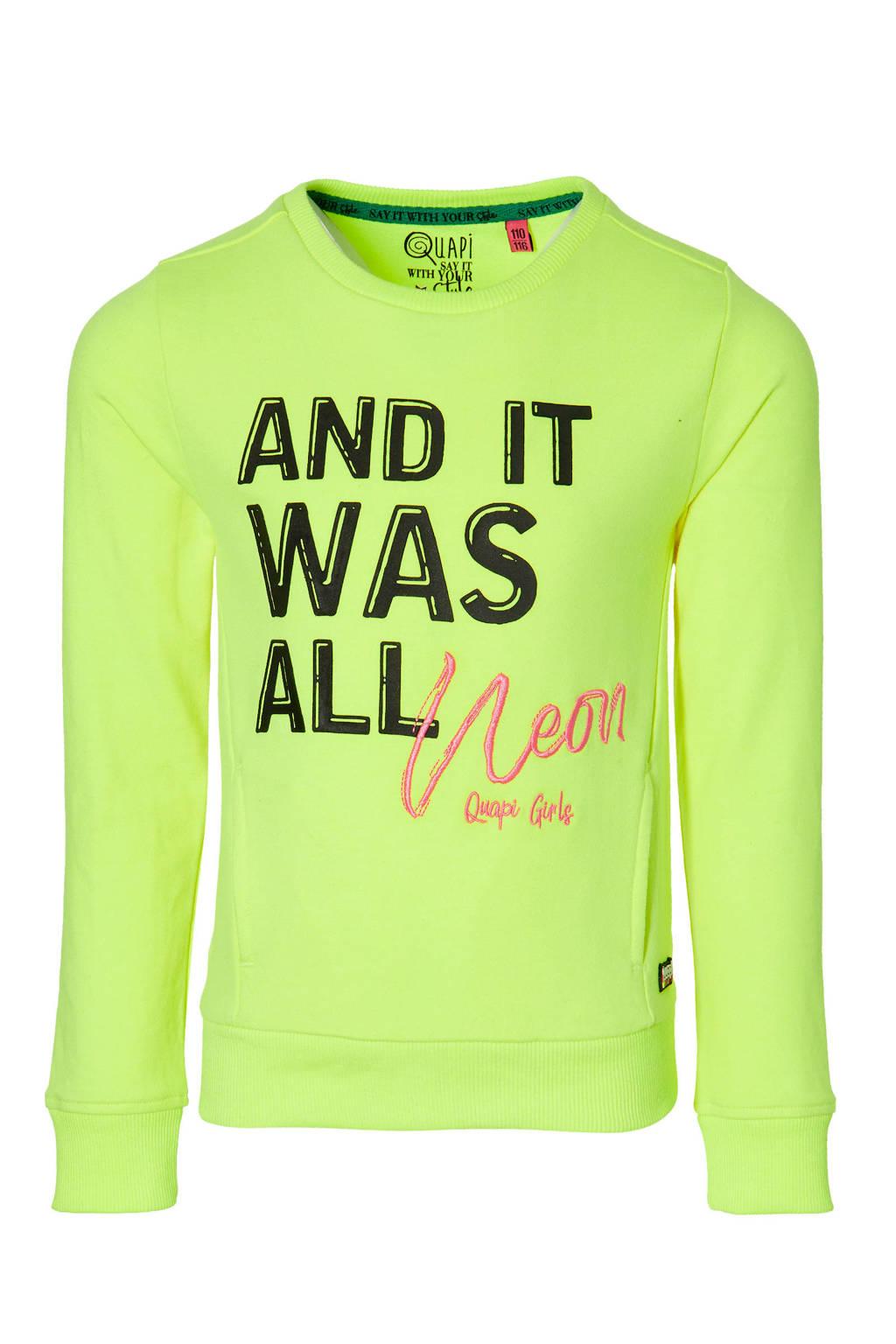 Quapi Girls longsleeve Davita met tekst neon geel, Neon geel