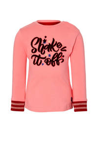 Quapi Mini longsleeve Elles met tekst roze/rood, Roze/rood