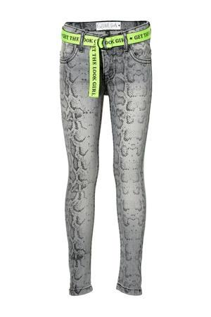 skinny broek Delynn met slangenprint grijs