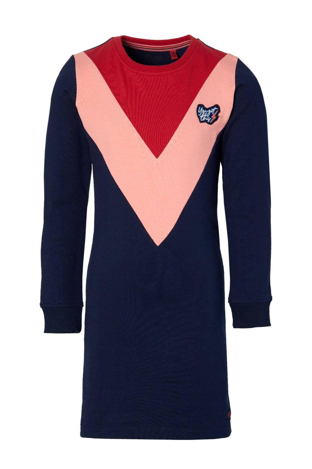 Quapi Girls sweatjurk Danila donkerblauw/roze/rood, Donkerblauw/roze/rood