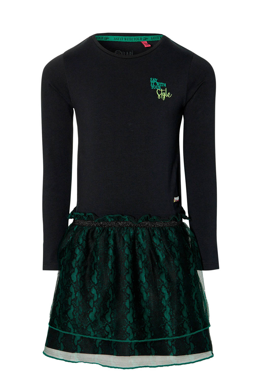 Quapi Girls jurk Daimy met slangenprint zwart/groen, Zwart/groen