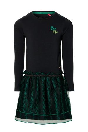 jurk Daimy met slangenprint zwart/groen