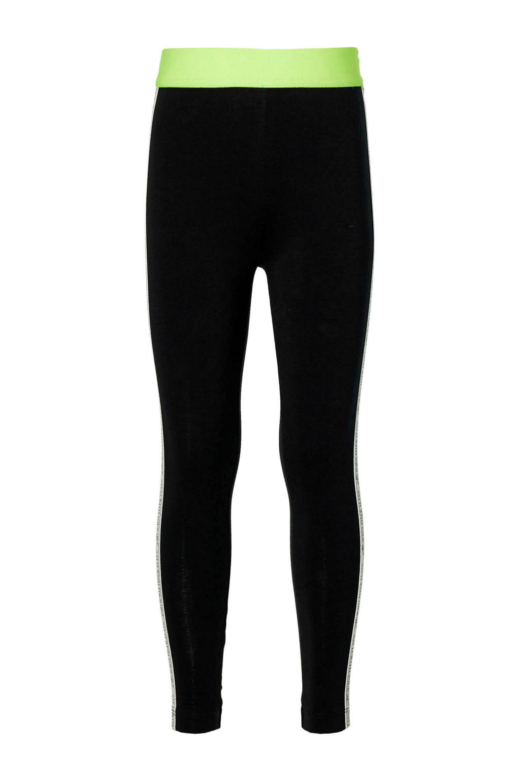 Quapi Girls regular fit legging Destiny met zijstreep zwart/geel, Zwart/geel
