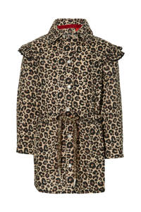 Quapi Mini blousejurk Elin met panterprint bruin/zwart, Bruin/zwart