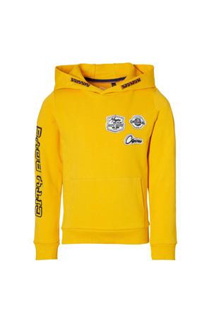 hoodie Demir met tekst en 3D applicatie warm geel