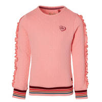 Quapi Girls sweater Daiza met ruches roze/rood, Roze/rood