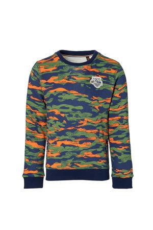 sweater Derk met camouflageprint groen/blauw/oranje