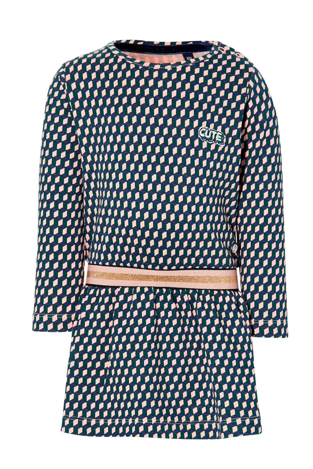Quapi Mini jurk Elise met stippen roze/groen, Roze/groen