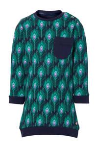 Quapi Mini sweatjurk Eliv met dierenprint groen/blauw, Groen/blauw