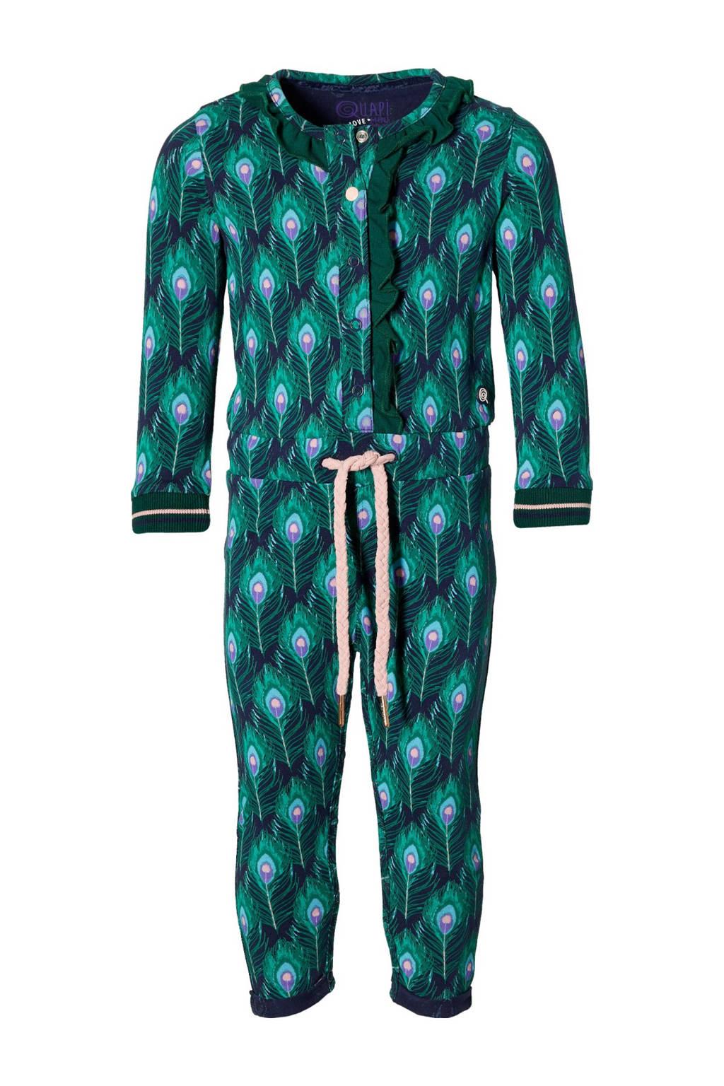 Quapi Mini jumpsuit Emma met dierenprint groen/blauw, Groen/blauw
