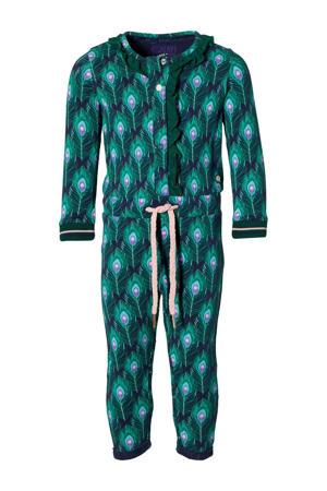 jumpsuit Emma met dierenprint groen/blauw