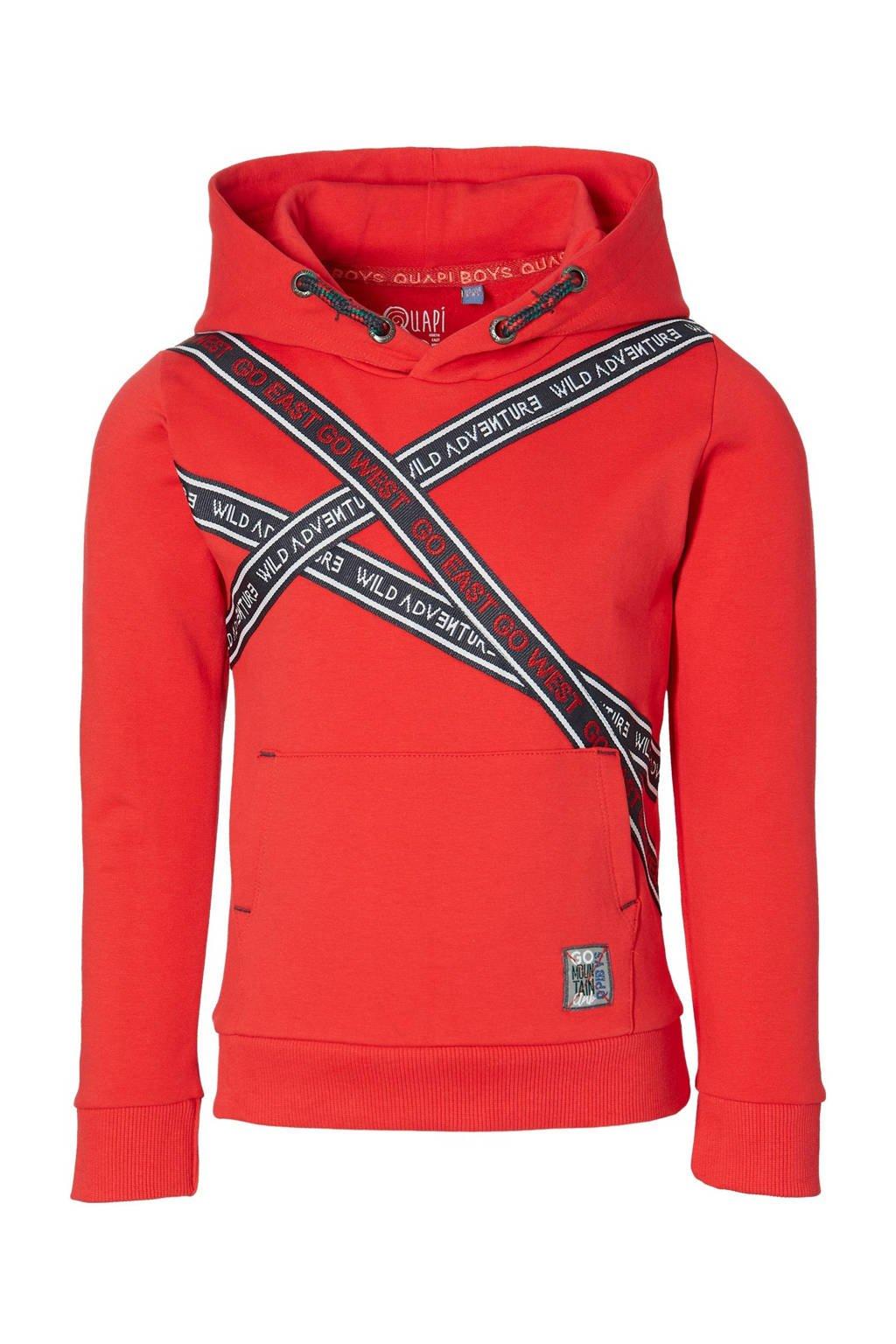 Quapi hoodie Denny met printopdruk rood, Rood