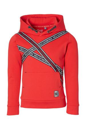 hoodie Denny met printopdruk rood