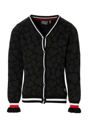 regular fit vest Djouke met panterprint antraciet/wit/rood