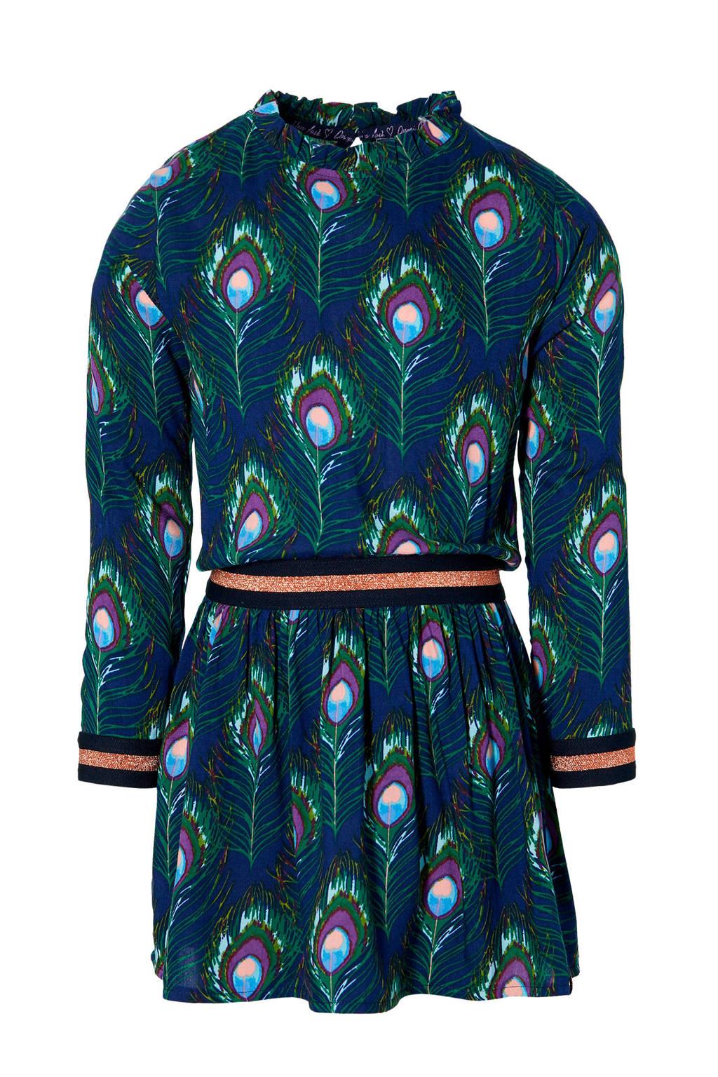 Quapi Girls jurk Delana met dierenprint groen/blauw, Groen/blauw