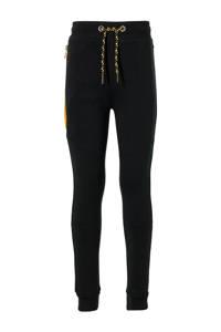 Quapi regular fit joggingbroek Dysis met zijstreep zwart, Zwart
