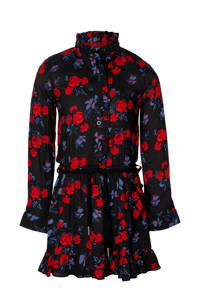 Quapi Girls gebloemde jurk Desi zwart/donkerblauw/rood, Zwart/donkerblauw/rood