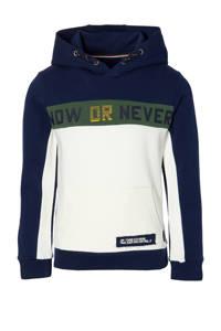 Quapi hoodie Denn donkerblauw/offwhite/groen, Donkerblauw/offwhite/groen