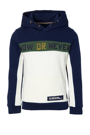 hoodie Denn donkerblauw/offwhite/groen