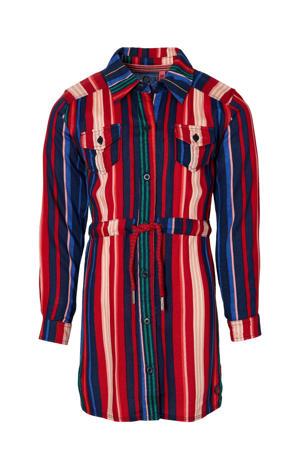 gestreepte blousejurk Damini rood/blauw/roze