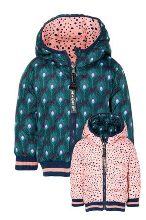 reversible gewatteerde winterjas Eefje met all over print groen/roze