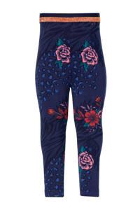 Quapi Mini gebloemde regular fit legging Ester donkerblauw/roze, Donkerblauw/roze