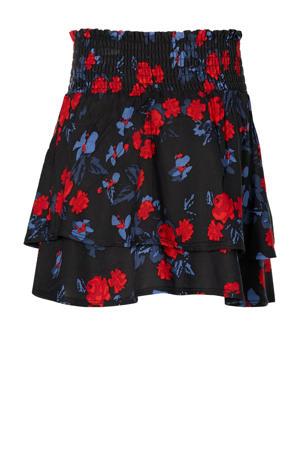 gebloemde rok Dorian zwart/rood/blauw