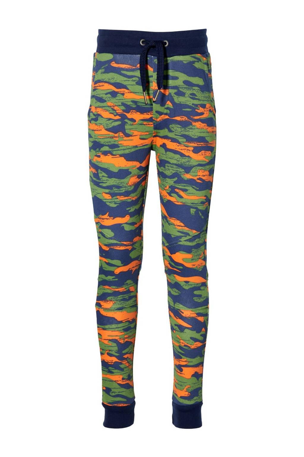 Quapi regular fit broek Dinan met camouflageprint groen/oranje, Groen/oranje