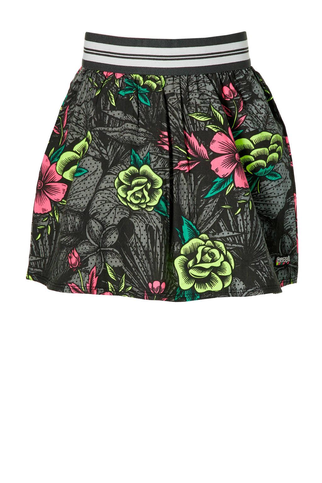 Quapi Girls gebloemde rok Desire zwart/geel/roze, Zwart/geel/roze