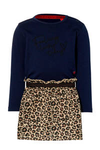 Quapi Mini jurk Eef met panterprint donkerblauw/bruin, Donkerblauw/bruin