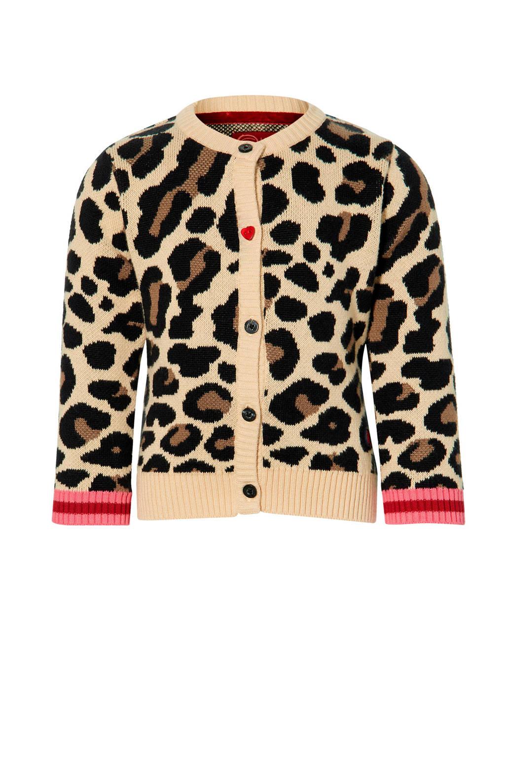 Quapi Mini vest Emely met panterprint lichtbruin/zwart, Lichtbruin/zwart