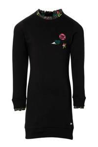 Quapi Girls jurk Dagmar met 3D applicatie zwart, Zwart