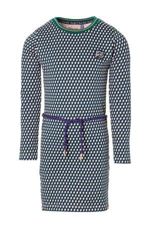 jurk Daantje met grafische print roze/groen