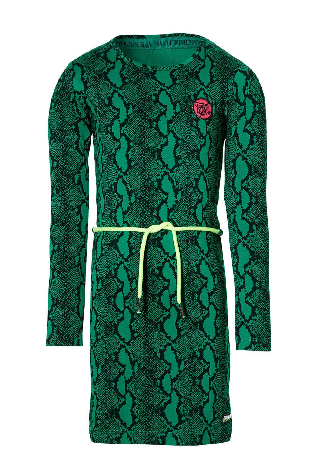 Quapi Girls T-shirtjurk Daantje met slangenprint groen/zwart, Groen/zwart