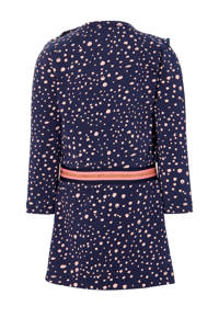 Quapi Mini jurk Ela met stippen en ruches donkerblauw/roze, Donkerblauw/roze