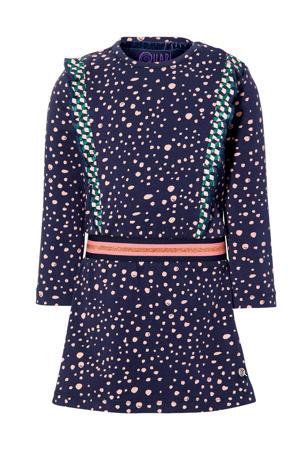 jurk Ela met stippen en ruches donkerblauw/roze
