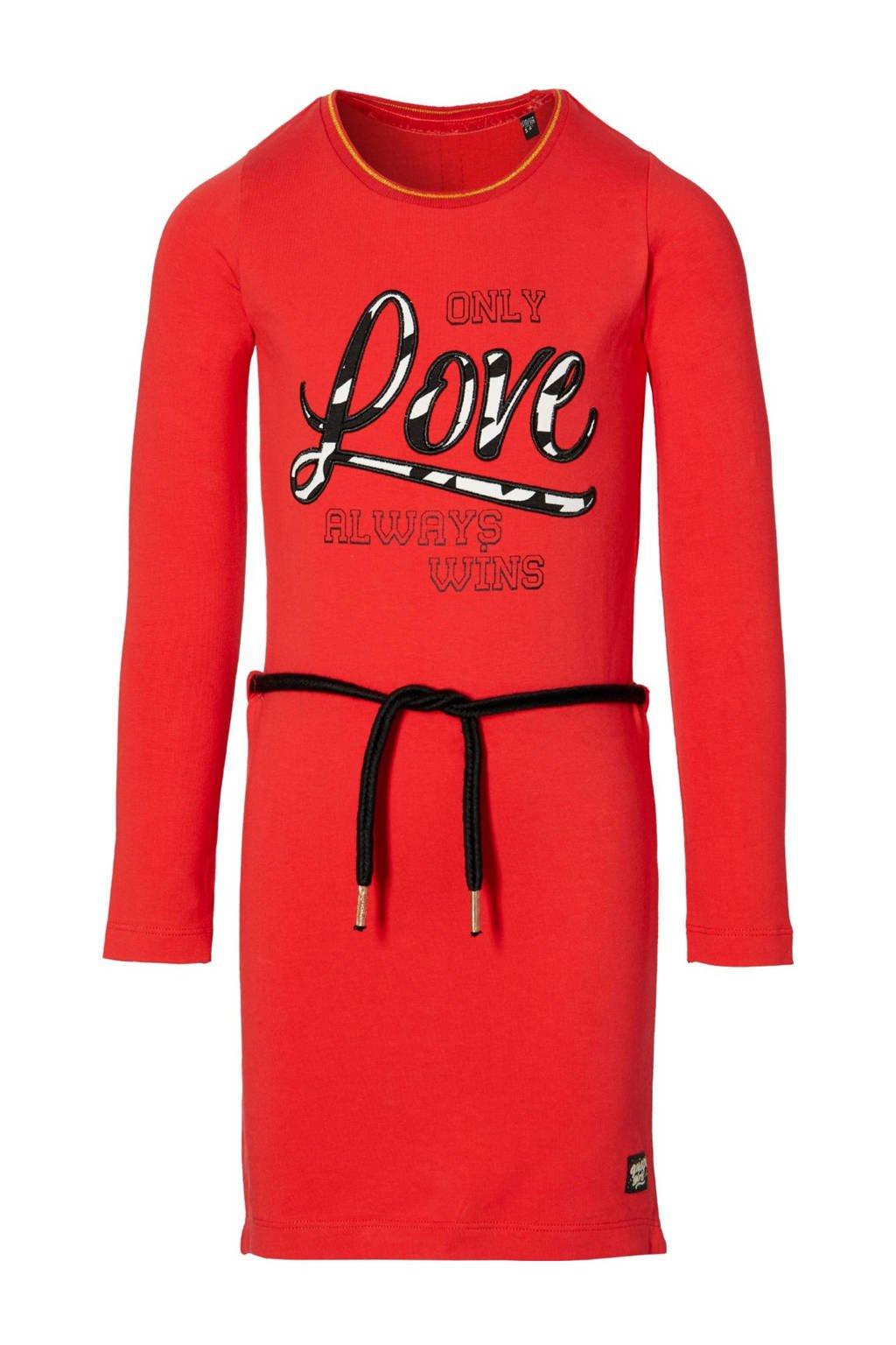 Quapi Girls T-shirtjurk Daantje met tekst rood, Rood