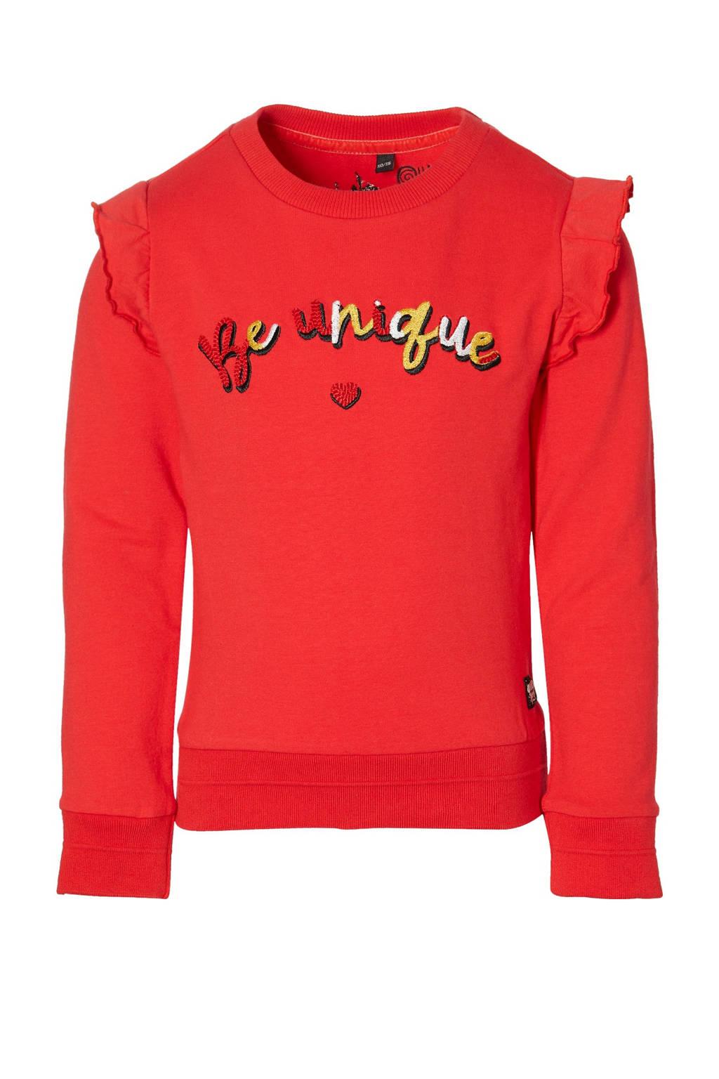 Quapi Girls regular fit sweater Djoah met tekst en ruches rood, Rood